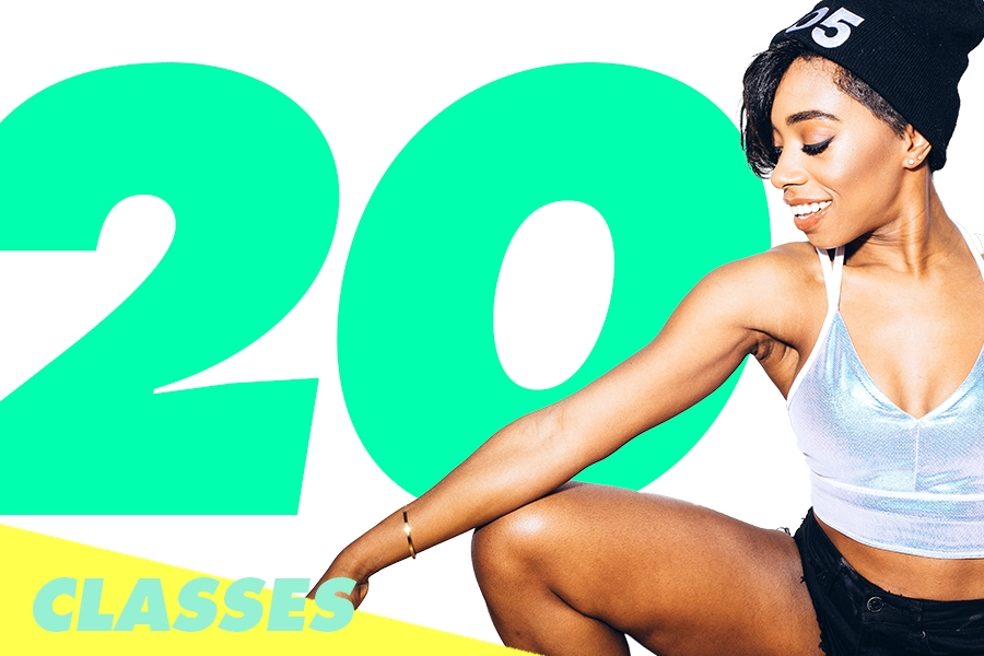 20 CLASSES: $519 - Save $70. Expires in 12 months. Come to ((305)) 2x/month or more? Yep. This'll pay for itself!