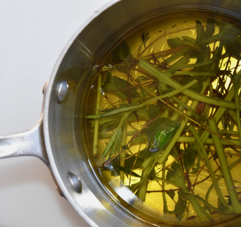 herb oil raw stems