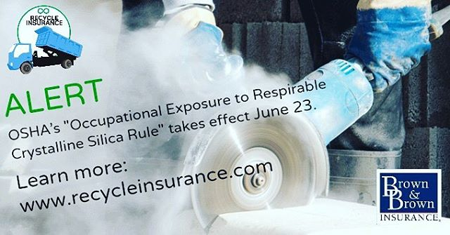 Does your company have a potential respirable crystalline silica exposure? Did you know that lawsuits for victims of silica exposure can rise into the hundreds of millions? Our brokers are up-to-date on standards and policies. Contact us to review your insurance coverage and discuss the recent OSHA update. Protecting your employees and your business is a top priority. #insurance #OSHA #silicaexposure