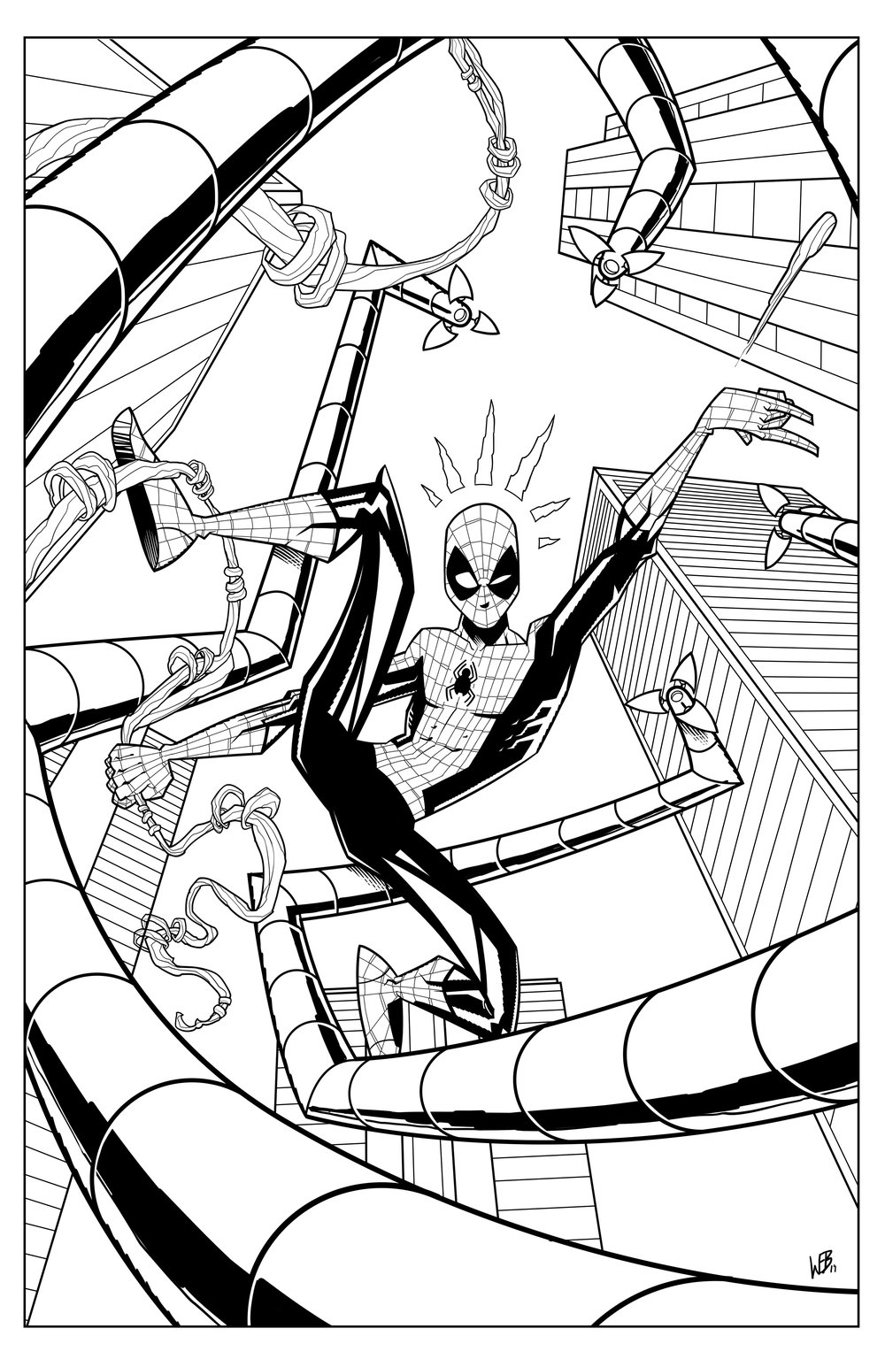 I love drawing Spider-Man. I think this is one of my favorites.