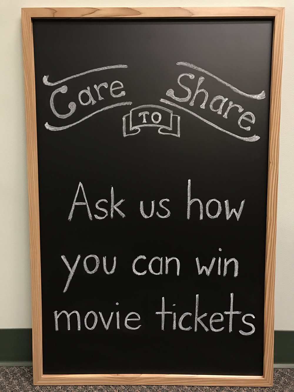 If you received care that you would want your family and friends to experience, please let them know!  We will give each person whom you refer a  $20  credit towards eye care services provided by our practice. When you refer 3 new patients to us, we will send you  4 movie tickets !