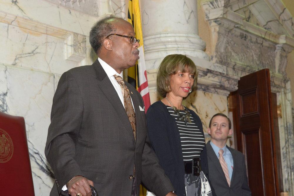 Senator McFadden, Mayor Pugh, and Senator Ferguson
