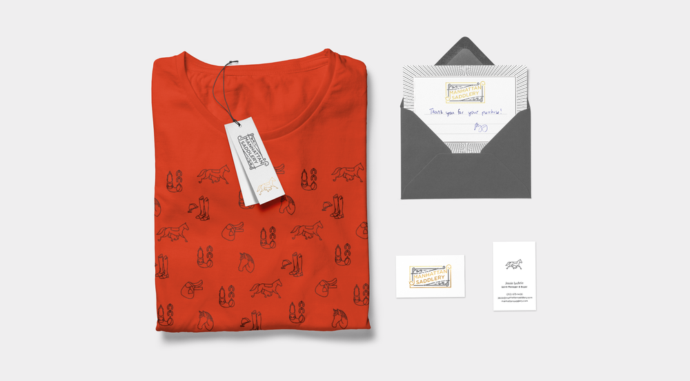 Shirt, hang tag, thank you card, and business card for Manhattan Saddlery by Knockout! Studio