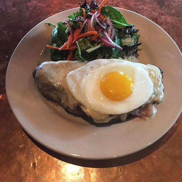 Back by popular demand...Croque Madam- @leftbankbutchery smoked ham and havarti on @saxvillagebakehouse brioche covered with mustard bechamel, topped with a sunny side egg and served with a side salad. Regular hours today, and we will be closed on Labor Day. #saxapahaw #theeddypub #brunch #yummm