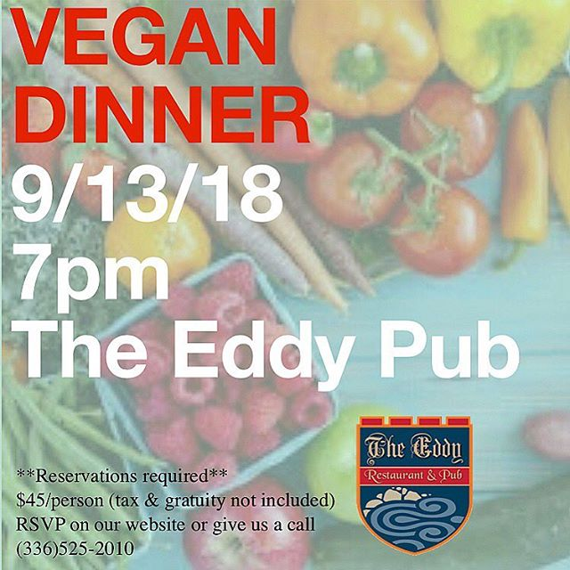 Seats are filling up, y'all!  Stay tuned for the menu but until then I'll give you a little hint.... vegetables 😂  Use the RSVP feature on our website theeddypub.com to reserve your seats today!  #trianglevegans #triangleveganfoodie #triangleveganfoodies #trianglevegans #triangleveganfest #vegan #veganfood #vegannc #ncvegan #ncvegans #ncveganguide #ncveganfoodie #chapelhillvegans #greensborovegan #saxapahawvegan #theeddypub #veganism #veganisgood #eatlocal #supportlocalfarmers