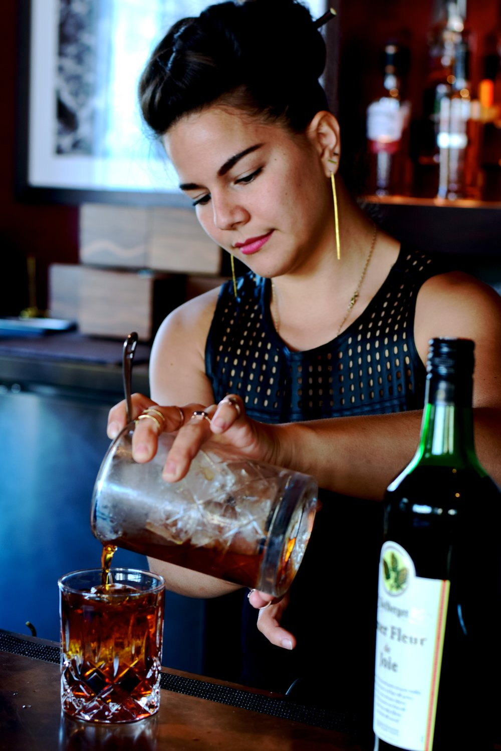 Julia Momose  Food and Wine Best New Bartender 2016   Moon's Age  1.5 oz Wolfberger Amer Fleur de Joie 1.5 oz Hibiki Harmony .5 oz Cocchi di Torino .25 oz Suze .25 oz Fernet Branca  Method: Stirred Glassware: Single Rocks; Large Rock Garnish: Lemon Expression  created while working at The GreenRiver in Chicago photo: Kristine Sherred
