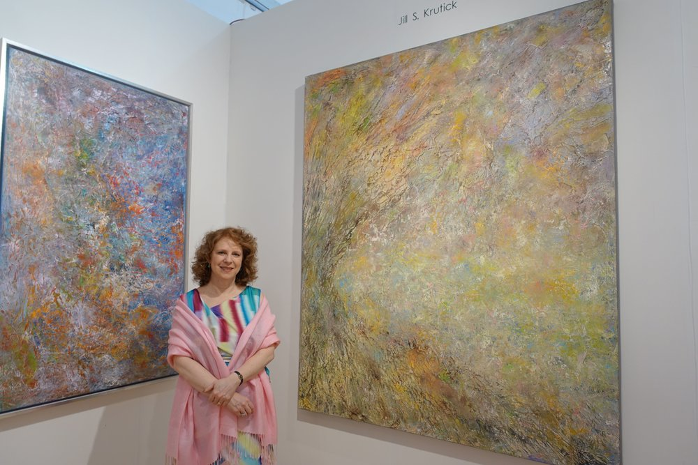 Jill S. Krutick, MOTHER EARTH, 60 x 36 inches (Left); THE GIVING TREE, 72 x 60 inches (Right)
