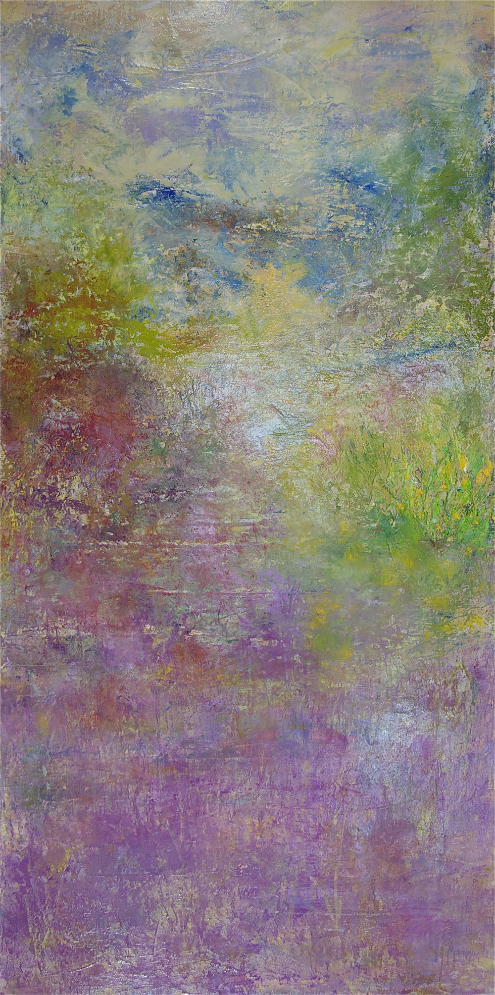 Jill S. Krutick, PINK FIELD, Oil on canvas, 36 x 18 inches (91.4 x 45.7 cm).