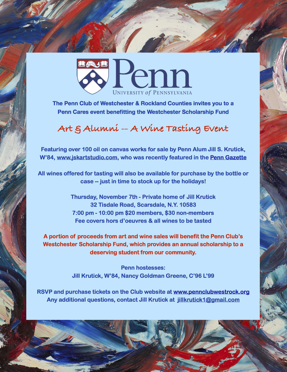 Invitation to University of Pennsylvania fundraising event.