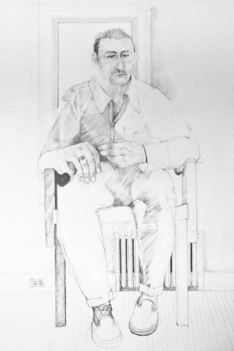 """Waiting Man With Outlet  24 x 32"""", Graphite on Paper"""