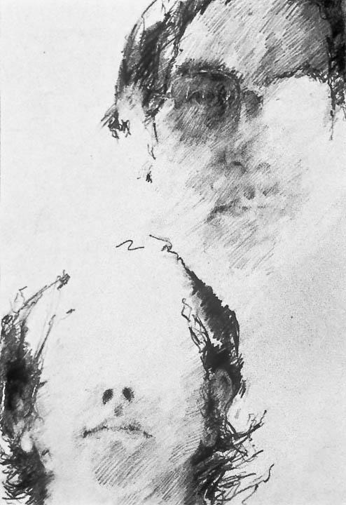 """Self Portrait 1971  10 x 16"""", Graphite on Paper"""