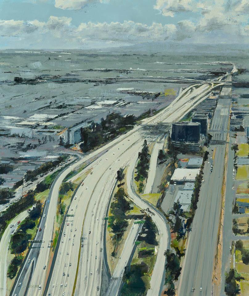 "<i>Cloud 14 LAX</i> <br> 36 x 30"", Oil on Linen"