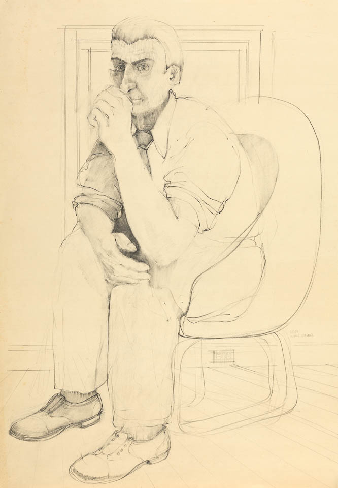 """Waiting Man with Outlet, 24 x 32"""", Graphite on Paper"""