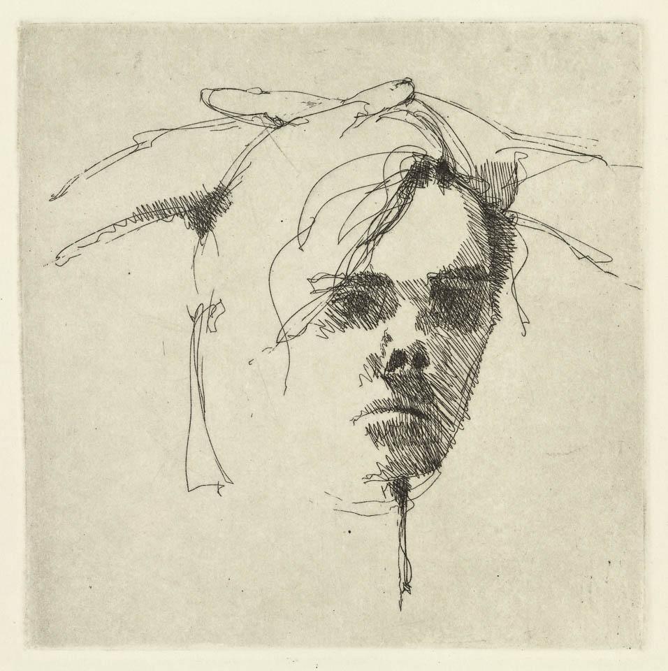"Head Study, 8 x 8"", Intaglio"