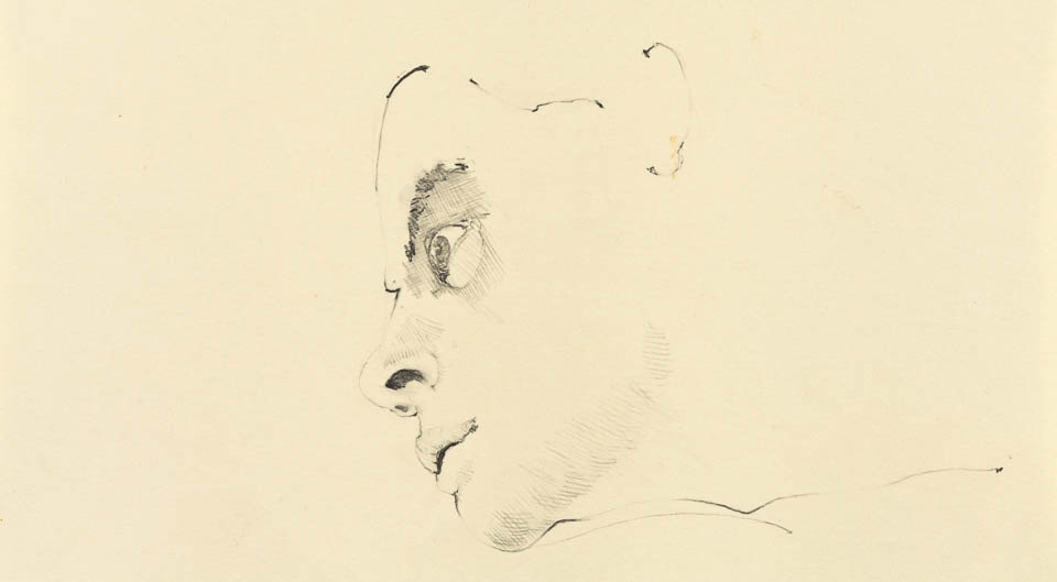 Face Study, Graphite on Paper