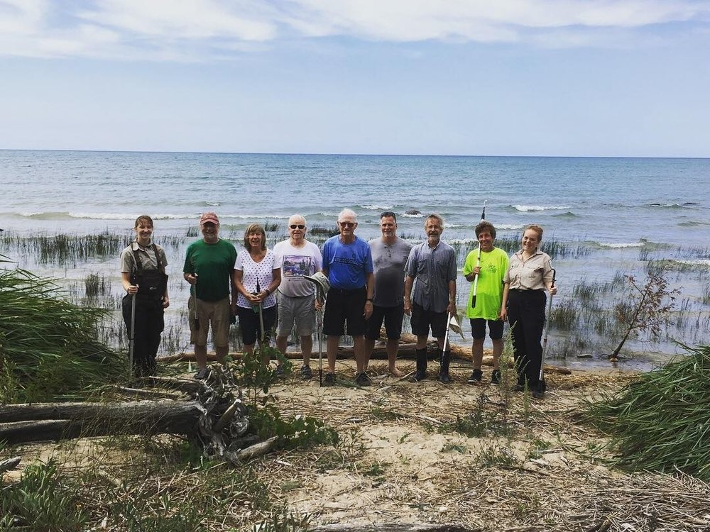 Hard working volunteers at MacGregor Provincial Park. Photo courtesy of Kathleen Houlahan.