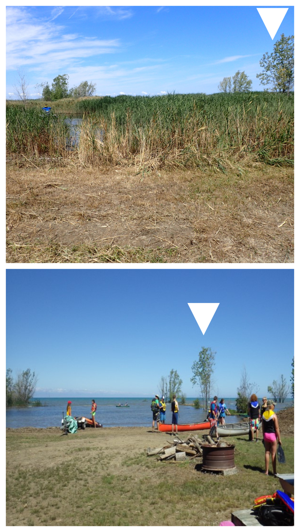 Before and after photos at the Lambton Centre camphround in Kettle Point. White triangles show landmark markers.