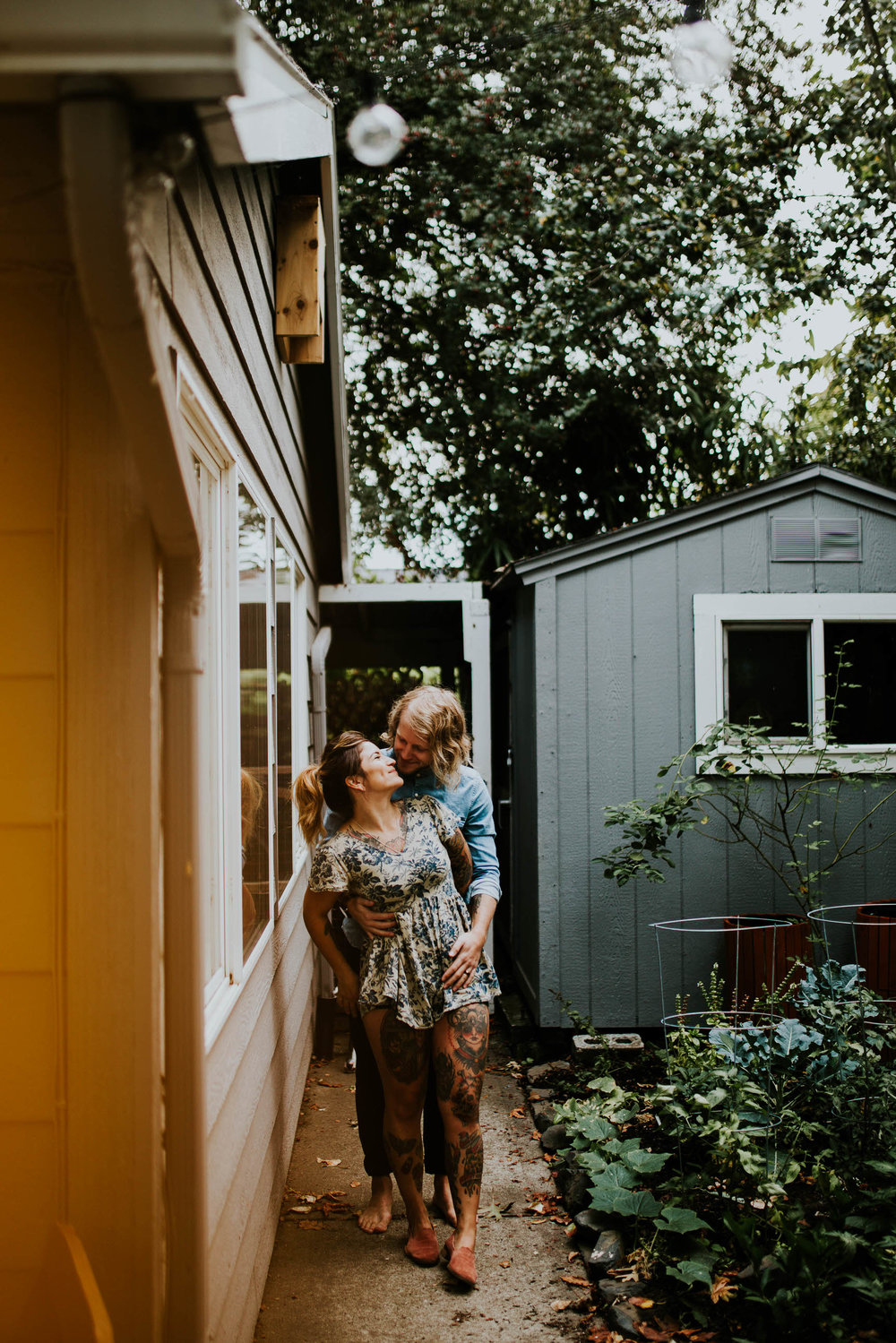 in home couples session engagement portland oregon living room backyard kitchen bedroom will christina