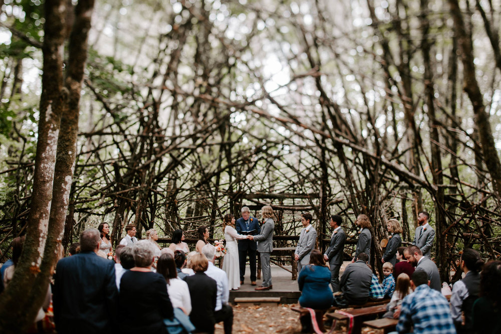 will christina hawkins wedding pendarvis farm jamie carle photography feminist queer moody documentary photos ceremony woods forest reception happy valley portland oregon