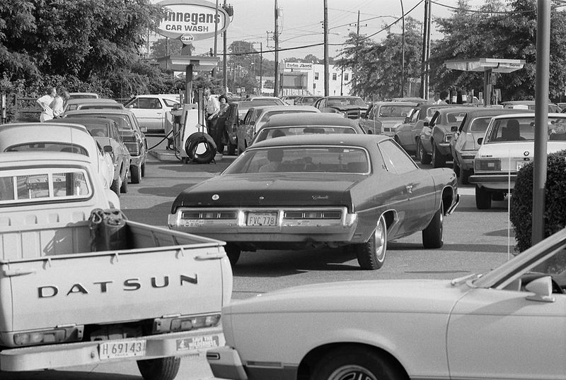 Automobiles lining up for fuel at a service station in the U.S. state of Maryland in the United States, in June 1979.