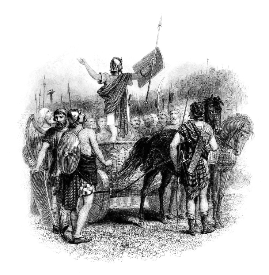 Calgacus speaking to the Caledonians. Public domain image from Wikipedia.