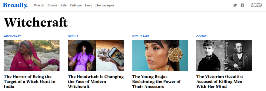 Pop-culture resurgence: Internet tabloid Vice offers dozens of witchcraft-themed articles.    Source