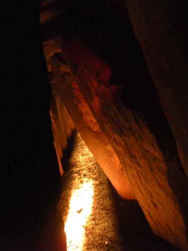 Light within Newgrange.