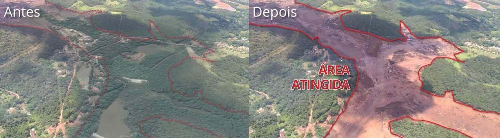 Before/After (In white). Affected Area (in red). The Israeli Army will be on disaster relief efforts.