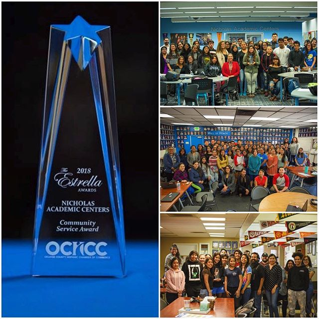 The Orange County Hispanic Chamber of Commerce (OCHCC) honored and recognized the Nicholas Academic Centers' amazing work and positive impact in the Hispanic, youth community with an Estrella Award for Community Service! The award has been proudly displayed at each of the Nicholas Academic Centers to recognize and celebrate the hard work and commitment of everyone in the NAC Family. . . . . . #OCHCC #SantaAna #HigherEducation #NACenters #CollegeBound #iamSAUSD #HTNFoundation #HenryTNicholas #HenryNicholas #NACScholars #NicholasScholars #NAC10thAnniversary