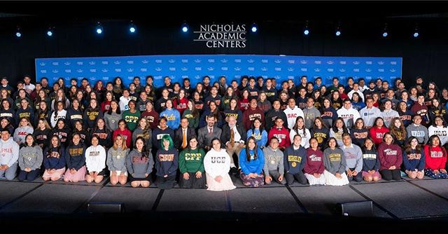 A big thank you to all the grads, alumni, family, friends and supporters who attended the 10th Annual Nicholas Academic Centers Graduation Celebration last Saturday! The 2018 graduating class consisted of 195 Nicholas Scholars who join the esteemed group of 900 previous graduates in the last decade. Each grad received a sweater from the college they will attend and NAC diplomas, both of which were presented by Dr. Nicholas and Santa Ana Mayor Miguel Pulido. The event had nearly 1,200 attendees! Congrats to everyone that has contributed to the tremendous success of the Nicholas Academic Centers these last 10 years!