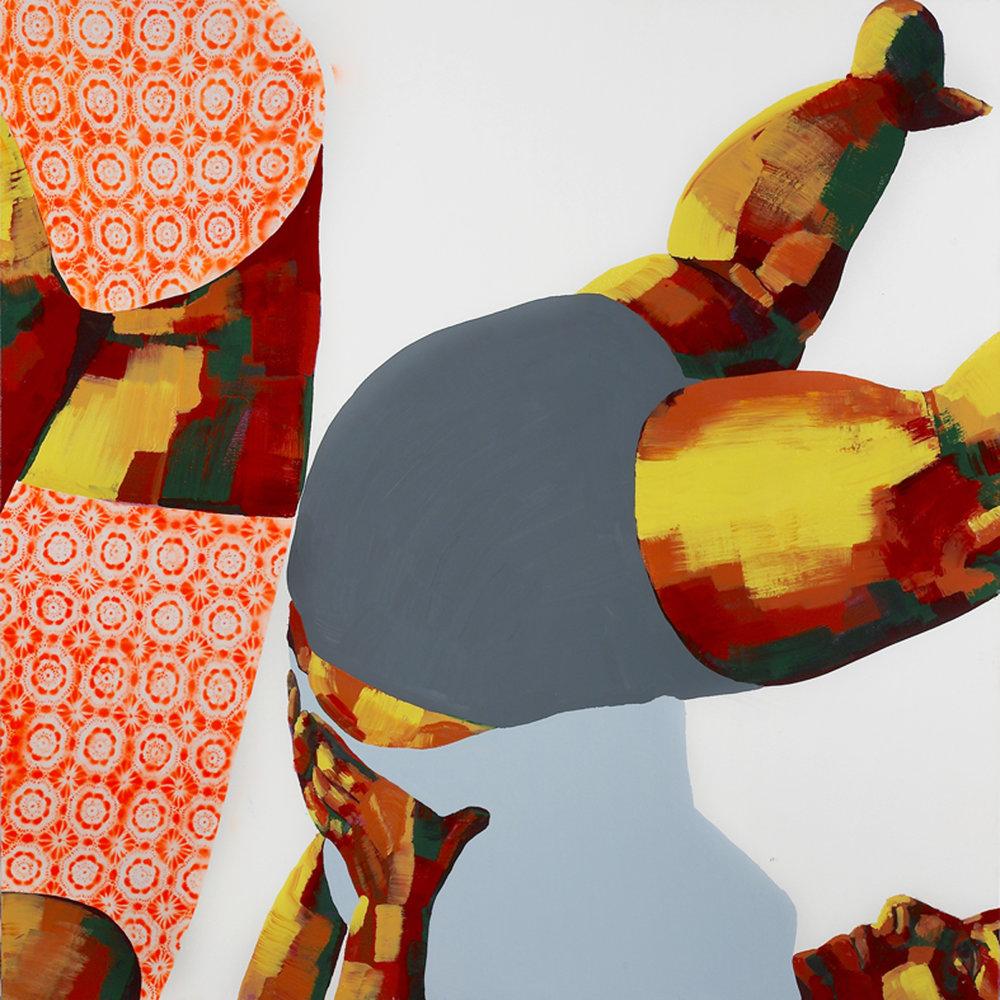 """דינה לוי (פרט), ללא כותרת (יוגה בשתיים), טכניקה מעורבת על בד, 180x180 ס""""מ, 2012 / צילום: סיגל קולטון"""