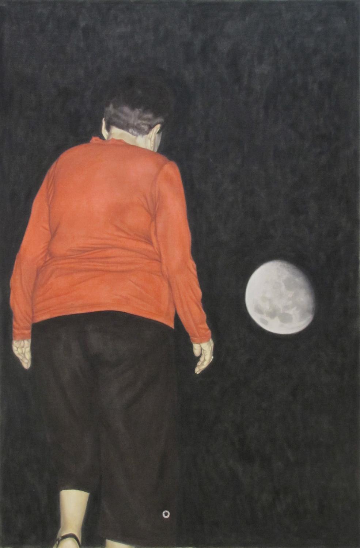 """חיים גל און, כיפה אדומה הולכת אל הירח, שמן על בד, 168x108 ס""""מ, 2010  קרדיט צלם:  חיים גל און"""