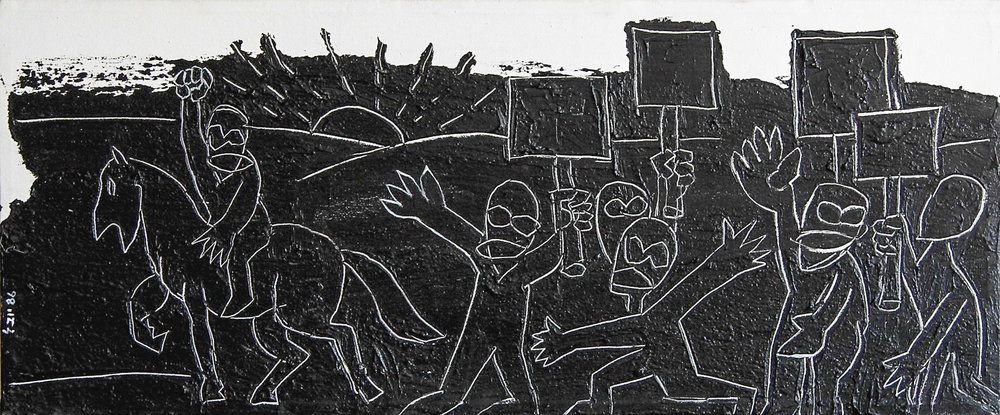 יובל דניאלי, הפגנה, אקריליק על בד, 1986 | קרדיט צלם: תמי סואץ
