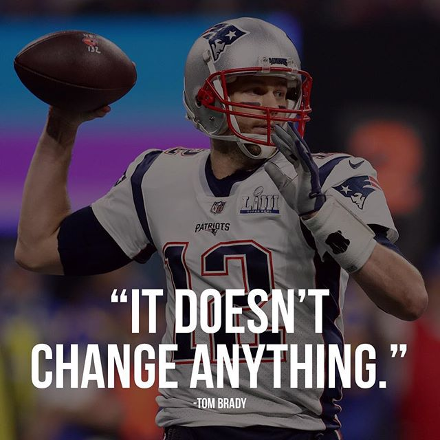 "Who watched the game this last Sunday any thoughts❓ When asked if winning their 6th Super Bowl game changes anything for the New England Patriots dynasty, Quarter Back Tom Brady answers, ""It doesn't change anything"" proving again that champions never stop even after a big win like last weeks game."