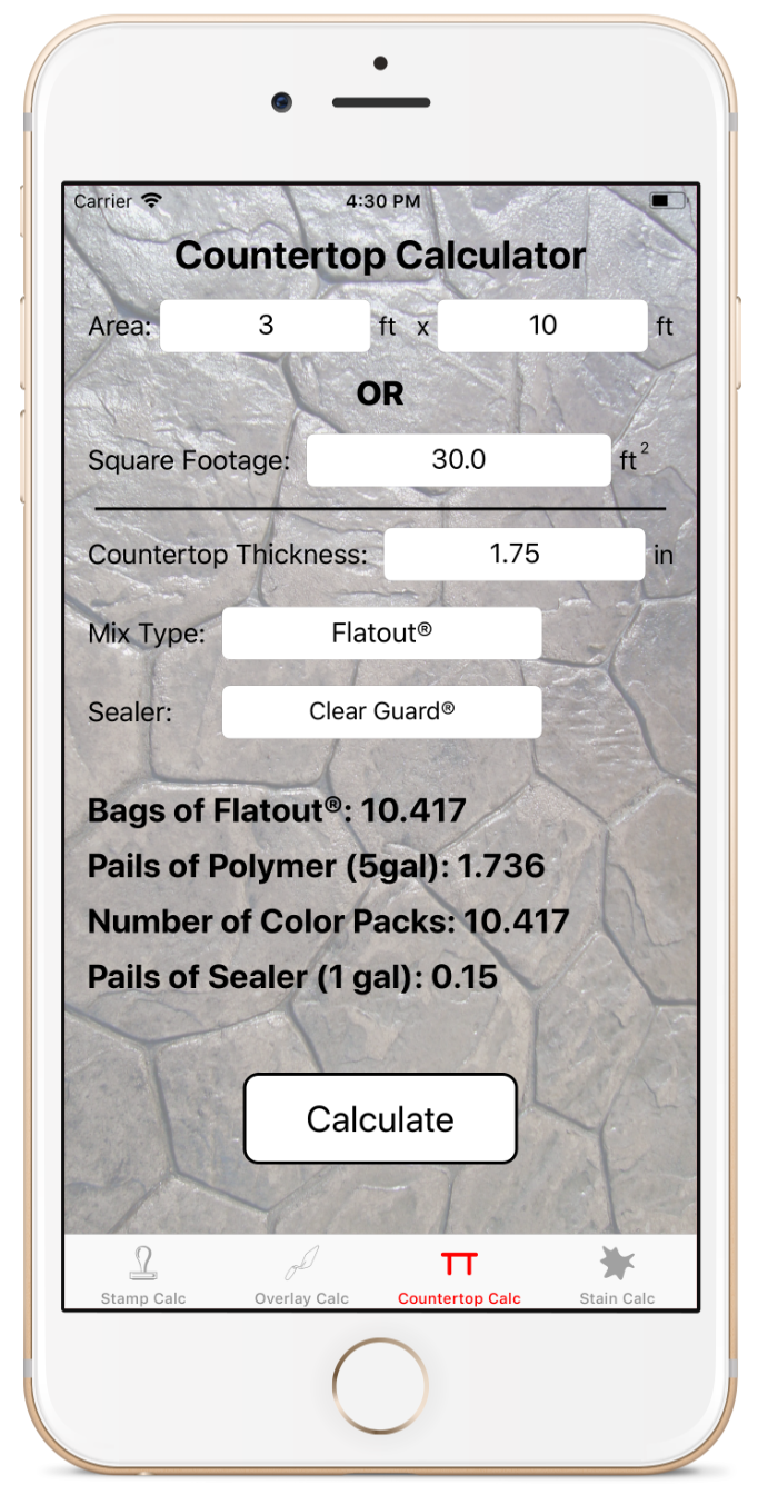 Countertop Calculator - Concrete countertops look great, but you want to ensure you have enough material to get your desired thickness. Using the countertop calculator you will ensure you have the correct amount of bags, pails of polymer, and number of color packs to ensure you get a great countertop each time.