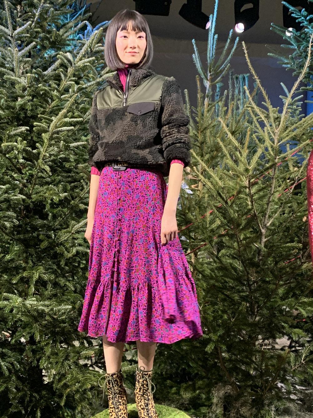 Model is wearing: Berry NELLIE Turtleneck, Floral LASANNA Dress, Camo KYLAN Sherpa Pullover, Leopard MAEVA Belt, Leopard Paula Boots