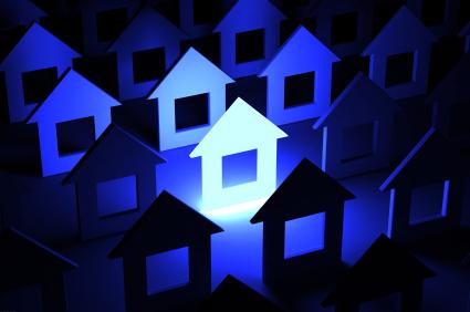 Unique house illuminated in blue
