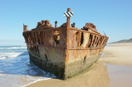 Maheno shipwreck on beach