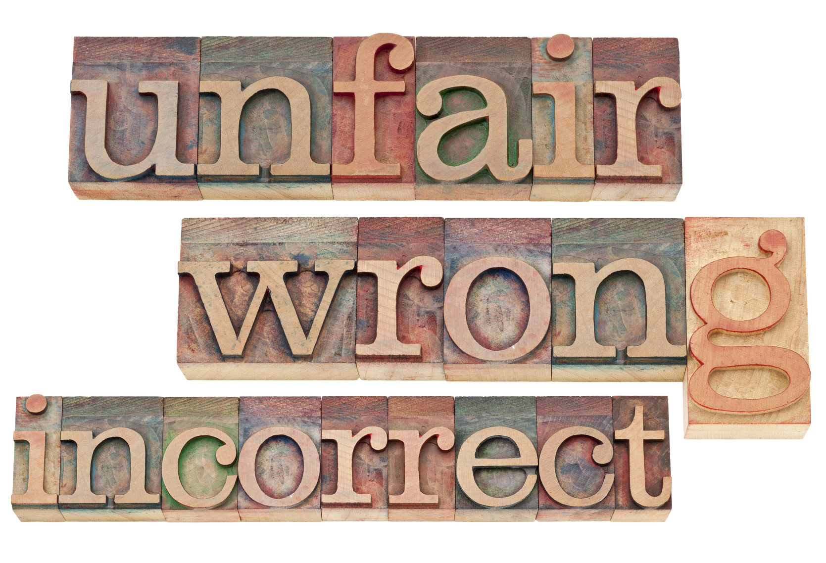 unfair, wrong, incorrect -