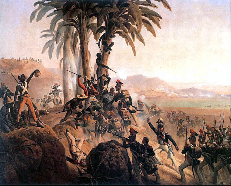 Battle at San Domingo , a painting by January Suchodolski, depicting a struggle between Polish troops in French service and the slave rebels and freed revolutionary soldiers