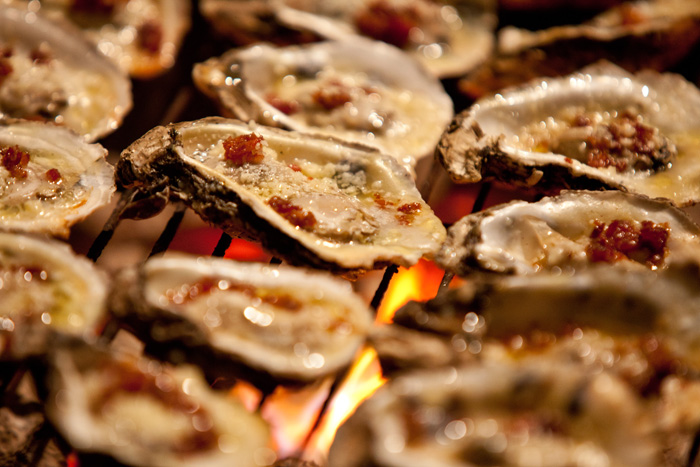 Grilled P&J Oysters with Bacon and Parmesan