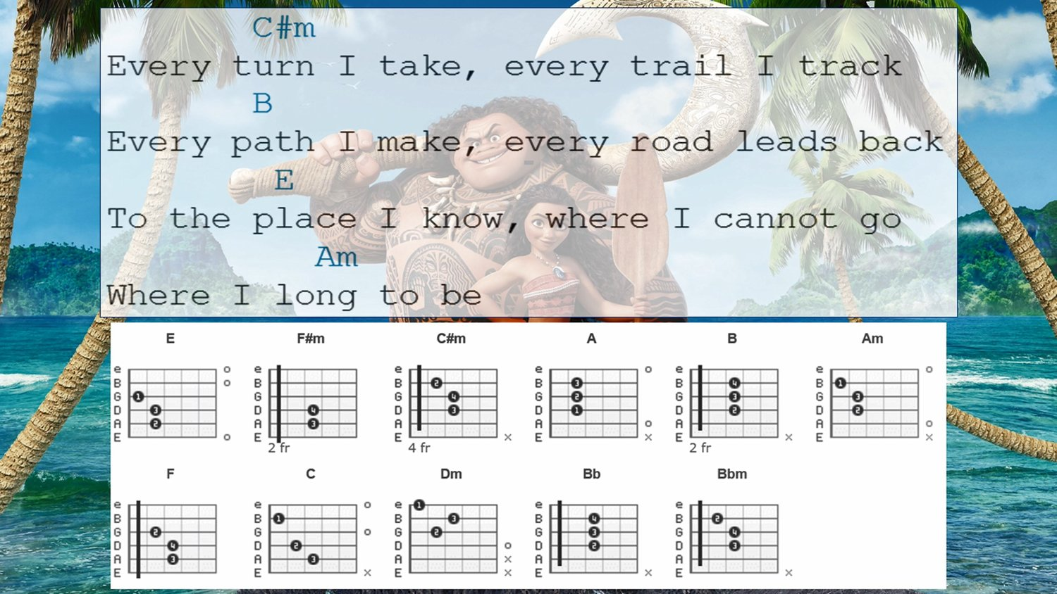 How To Play How Far Ill Go From Moana On Guitar Teach 2 Teach