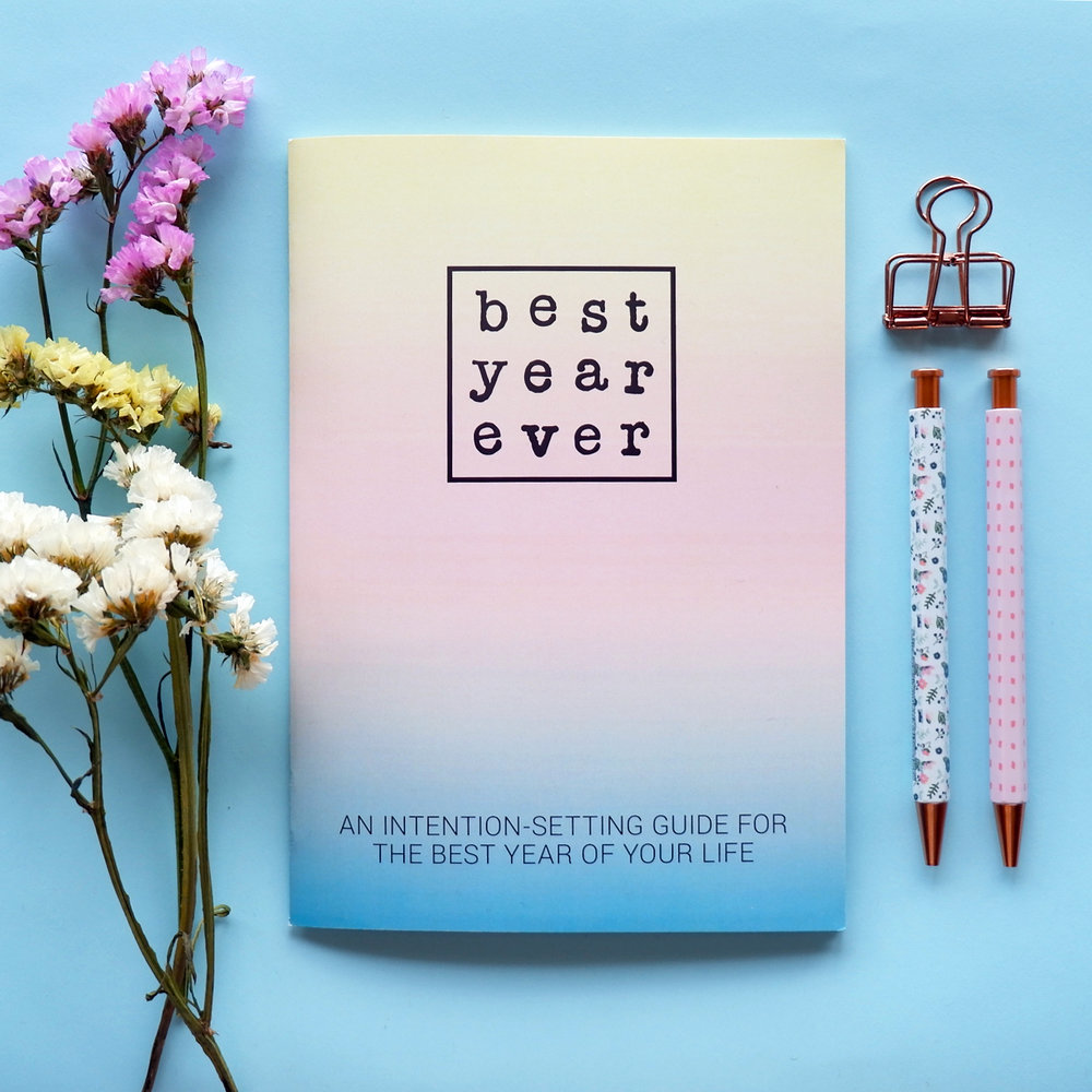 A tool to help you make 2018 your best year ever - To guide you in identifying your intention for the new year, here's a beautiful kit with a workbook written by life coach Aurora M. Suarez.