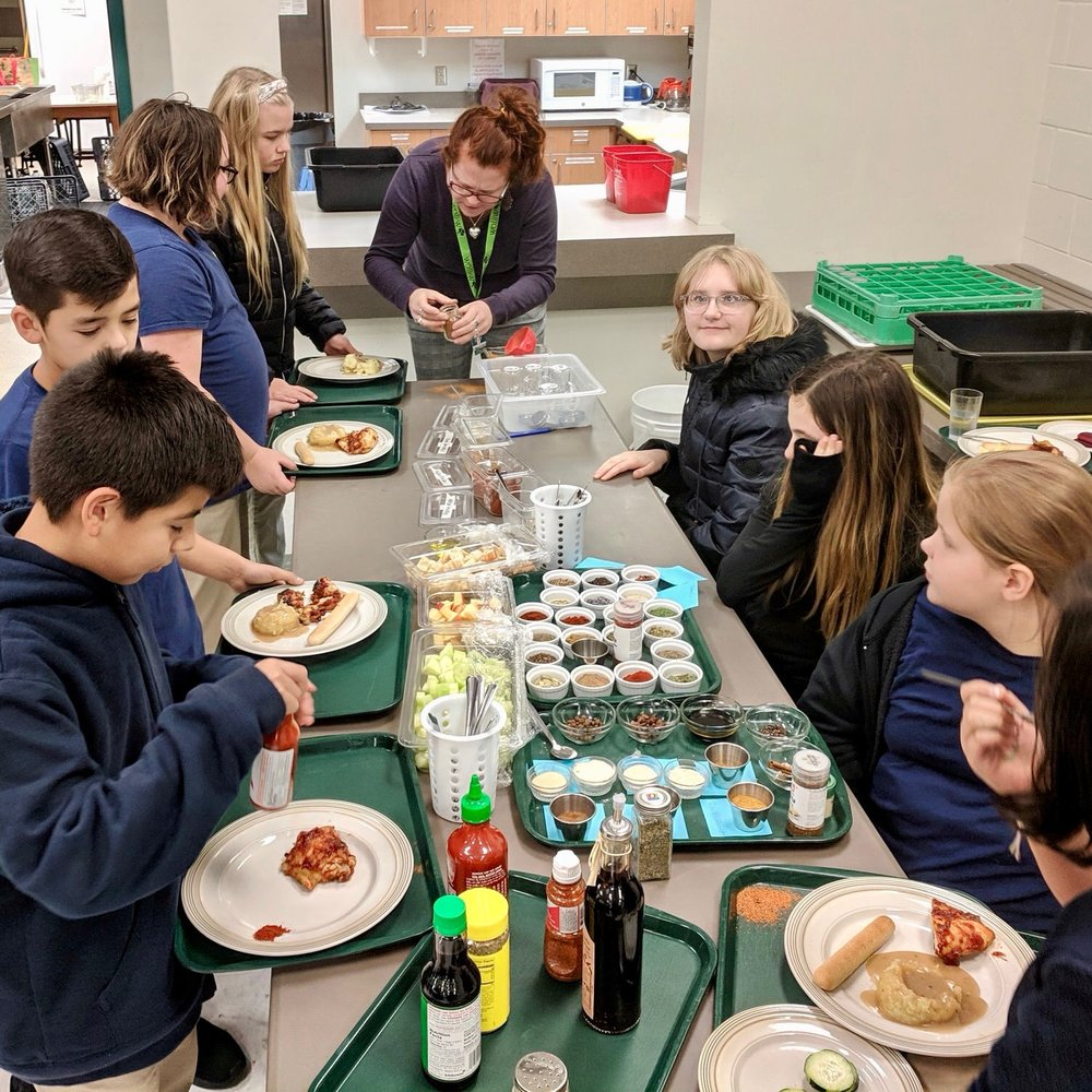 Heidi McFarley   , Food Program Coordinator is teaching a class on spices (everyone enjoyed the spices at lunch).