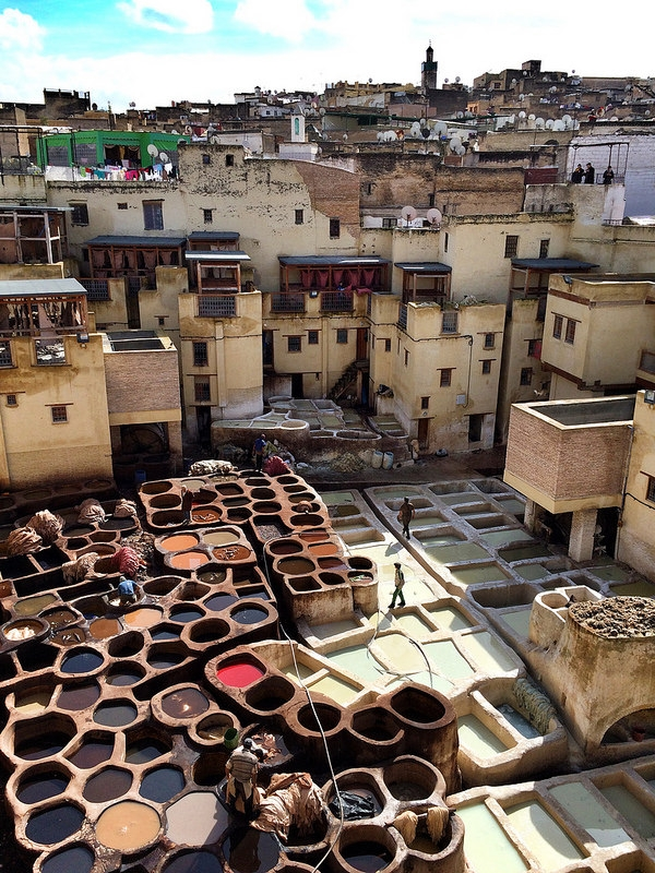 A traditional Moroccan tannery. Our bags are created in a traditional tannery without the use of harsh chemicals.