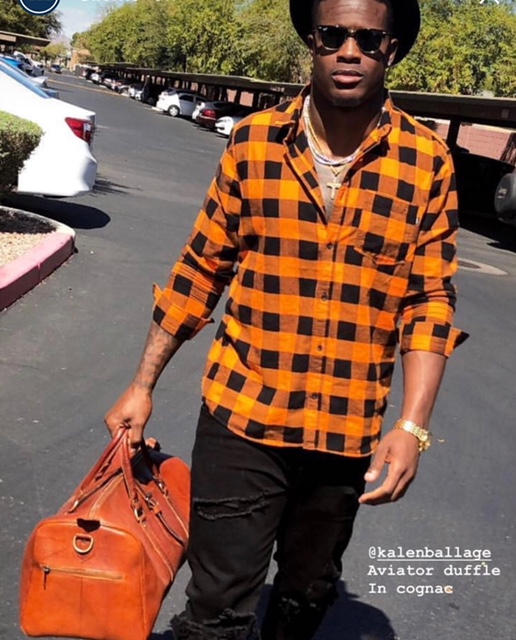 Kalen Ballage of Miami Dolphins with Aviator Duffle in cognac . Picture from Kalen Ballage's Instagram account