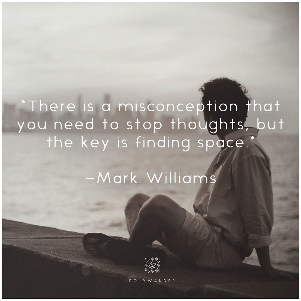 """There is a misconception that you need to step thoughts, but they key is finding space."" —Mark Williams"