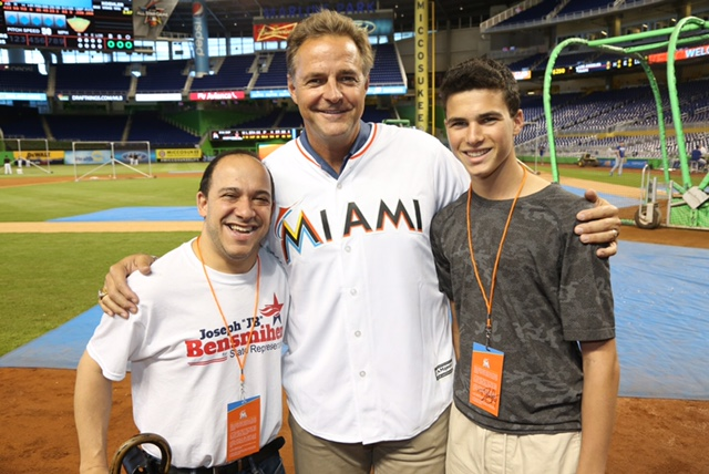 JB with his son Henry and Marlins pitcher Al Leiter