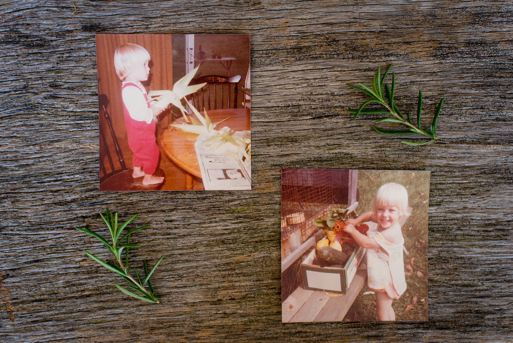 Photos of me taken by my mother when I was a kid, already interested in food and helping her in the garden.