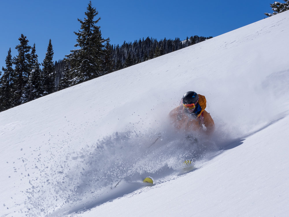 Gus Allen tasting the powder goods of the San Juan Mountains
